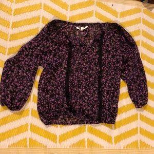 LC Lauren Conrad Purple Floral Polyester Shirt